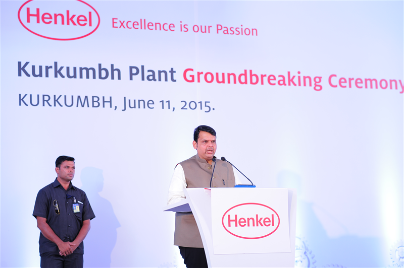 Devendra Fadnavis, Chief Minister of Maharashtra speaking at the groundbreaking ceremony of Henkel's Kurkumbh plant