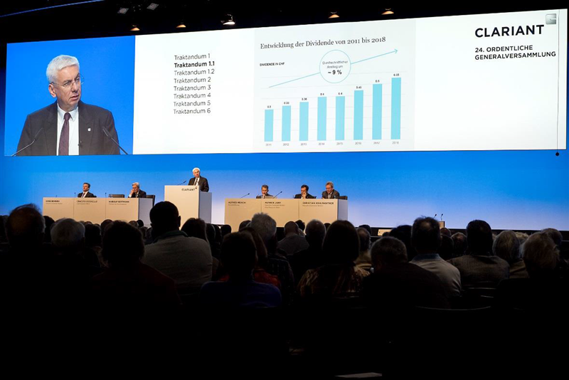 CEO Ernesto Occhiello presents the development of the dividend as part of his speech at the 24th Annual General Meeting of Clariant AG