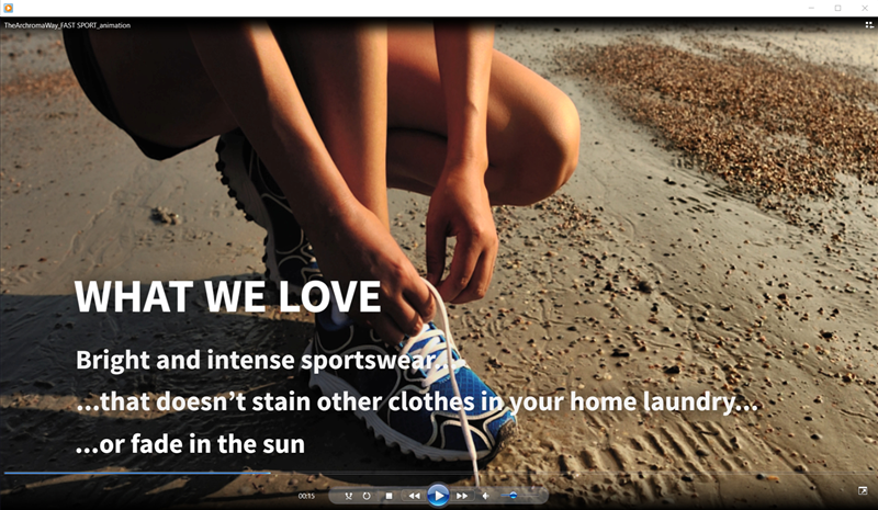 Screen capture of Archroma's video on Archroma's Fast Sport based on Foron® SP-WF, a range of high wet-fast disperse dyes for sportswear and active wear applications. (Photo Archroma)