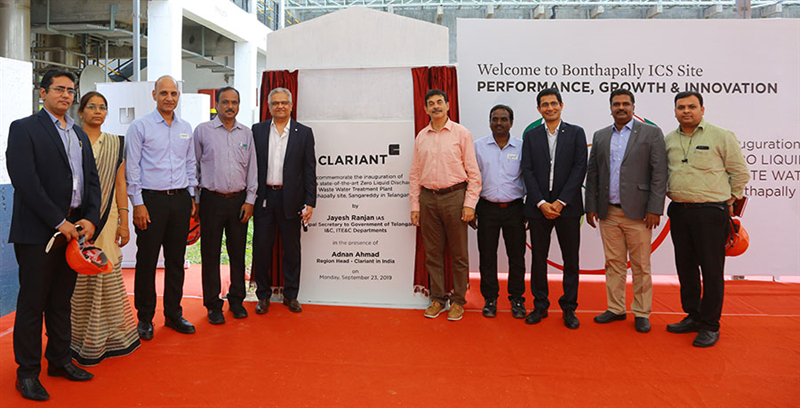 Adnan Ahmad, Region Head, Clariant in India along with Chief Guest Jayesh Ranjan, IAS, Principal Secretary to Government of Telangana, I & C, ITE&C Department, other local government officials, as well as Clariant's Leadership team of BU Industrial & Consumer Specialties, India