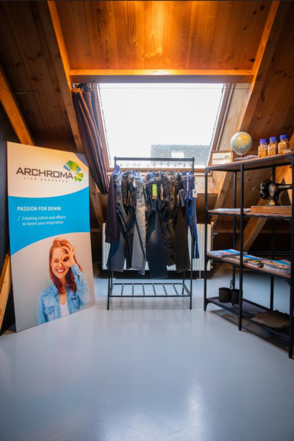 Archroma's showcase at The Denim Window's location in Amsterdam, Netherlands.