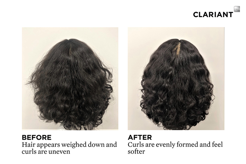 Salon demo on mannequin using the new Curl Revival Gently Clarifying Co-Wash. (Photo: Clariant)