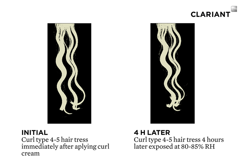 Curl definition study using the new Curls Just Wanna Have Fun Conditioning & Defining Cream. After exposing the hair tress for 4 hours at 80-85% RH the curls still maintained their definition and little to no frizz was observed. (Photo: Clariant)