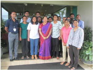 Dr. Padma  with students at the college